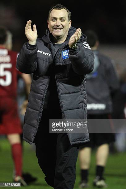 Micky Mellon manager of Fleetwood Town celebrates his sides 20 victory during the FA Cup Second Round Replay match between Yeovil Town and Fleetwood...