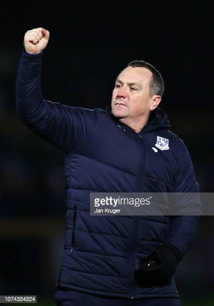 Micky Mellon of Tranmere celebrates after his team win the FA Cup Second Round Replay match between Southport and Tranmere Rovers at Haig Avenue on...