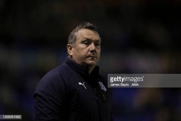 Micky Mellon the head coach / manager of Tranmere Rovers during the Sky Bet League One match between Shrewsbury Town and Tranmere Rovers at...