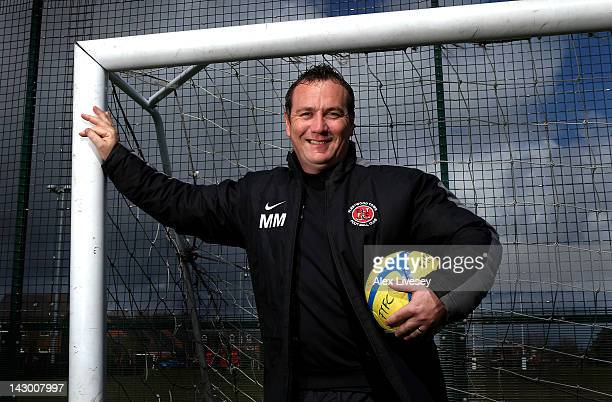 Micky Mellon the manager of Fleetwood Town poses for a portrait after a training session held at Woodlands Memorial Ground on April 17 2012 in Lytham...
