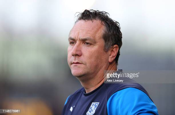Micky Mellon the manager of Tranmere Rovers looks on during the Sky Bet League Two Playoff Semi Final First Leg match between Tranmere Rovers and...