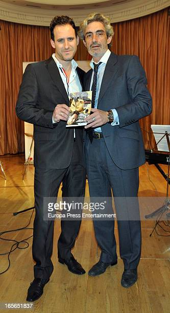 Micky Molina and Rafa Garcel attend the presentation of an homage to the singer Antonio Molina at Coliseum Theatre on April 2 2013 in Madrid Spain