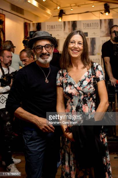 Micky Molina and Sandra Blakstad pose for photographers during the presentation of the new album of Tomatito at Corral de la Moreria on October 03...