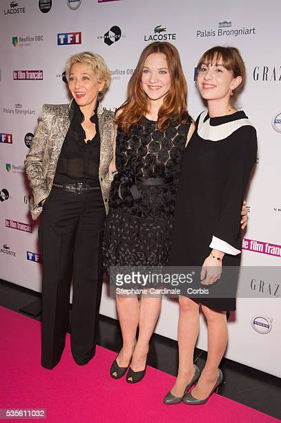 Micky Sebastian Odile Vuillemin and Lolita Chammah attend the 'Trophees du Film Francais' 23rd ceremony at Palais Brongniart on February 2 2016 in...