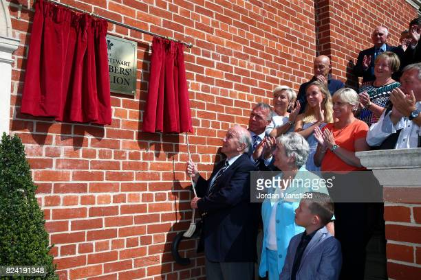Micky Stewart OBE unveils the plaque to officially announce the naming of the Micky Stewart Members Pavilion during day three of the 3rd Investec...