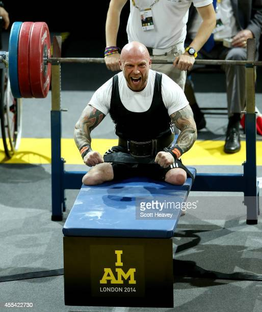 Micky Yule of Great Britain during the Men's Lightweight Powerlifting event on Day 4 of the Invictus Games at Olympic Park on September 14 2014 in...