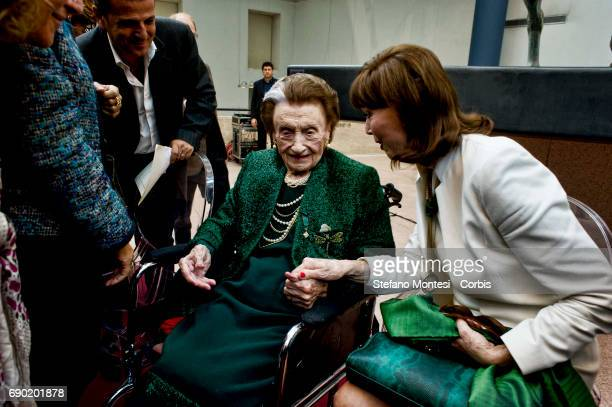 Micol Fontana with Elsa Martinelli mayor of Rome during the birthday celebration who is 100 years old the last of the three sisters Fontana of the...