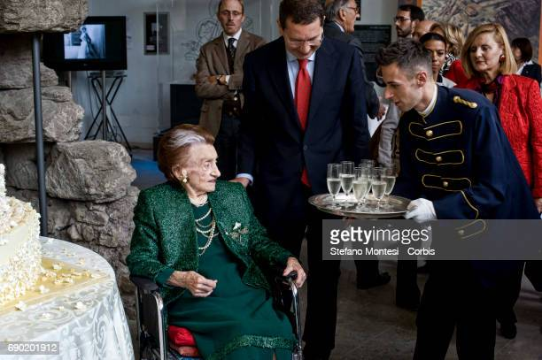 Micol Fontana with Ignazio Marino mayor of Rome during the birthday celebration who is 100 years old the last of the three sisters Fontana of the...