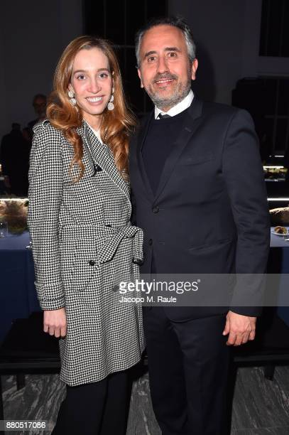 Micol Sabbadini and Marco Gualtieri attend Michel Comte Black Light White Light Opening at Triennale di Milano on November 27 2017 in Milan Italy