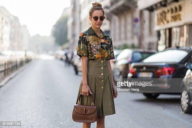 Micol Sabbadini outside Marni during Milan Fashion Week Spring/Summer 2017 on September 25 2016 in Milan Italy