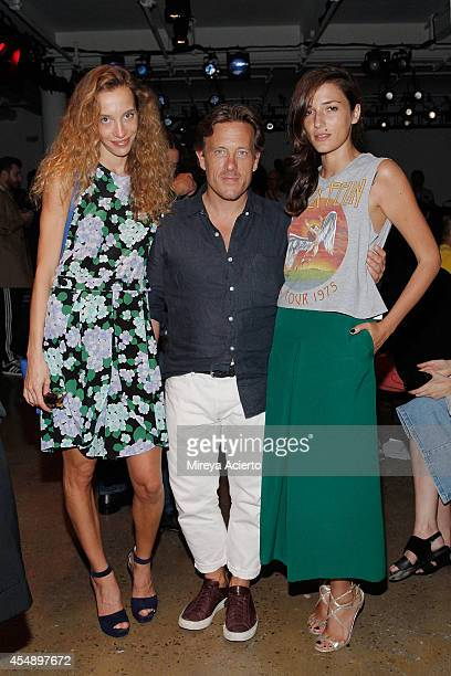 Micol Sabbadini Scott Schuman and Eleonora Carisizz attend Tim Coppens runway show during MADE Fashion Week Spring 2015 at Milk Studios on September...