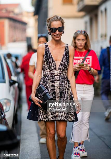 Micol Sabbadini wearing dress is seen outside No 21 during Milan Fashion Week Spring/Summer 2019 on September 19 2018 in Milan Italy