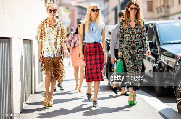Micol Sabbadini wearing golden glitter jacket skirt with fringes plattform sandals Ada Kokosar blue blouse red plaid lumberjack pencil skirt and Sara...