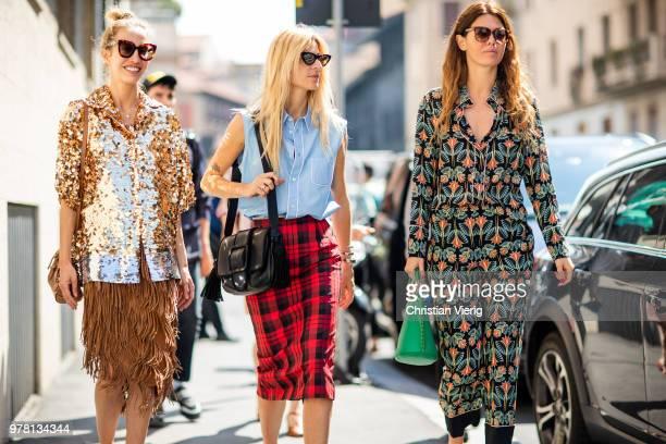 Micol Sabbadini wearing golden glitter jacket skirt with fringes plattform sandals Ada Kokosar blue blouse red plaid lumberjack pencil skirt and Sara...