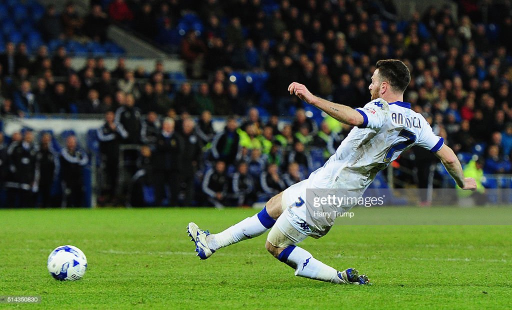 Micro Antenucci of Leeds United scores his sides second goal during the Sky Bet Championship match between Cardiff City and Leeds United at the Cardiff City Stadium on March 8, 2016 in Cardiff, Wales.