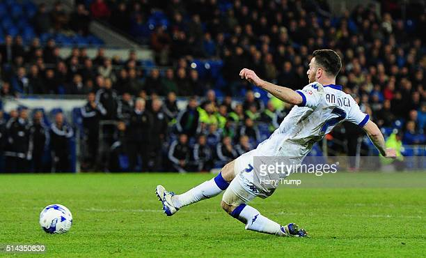 Micro Antenucci of Leeds United scores his sides second goal during the Sky Bet Championship match between Cardiff City and Leeds United at the...