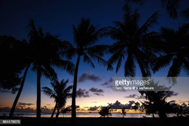 micro beach in saipan in the sunset - saipan stock pictures, royalty-free photos & images