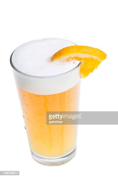 microbrew beer with orange slice - garnish stock pictures, royalty-free photos & images
