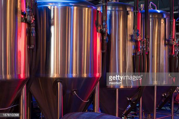 microbrewery fermentation tanks - drum container stock photos and pictures