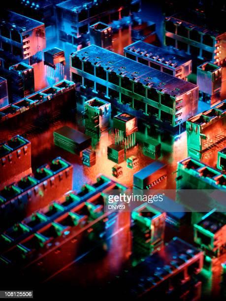 Microchip Circuit Board Resembling Mini City at Night