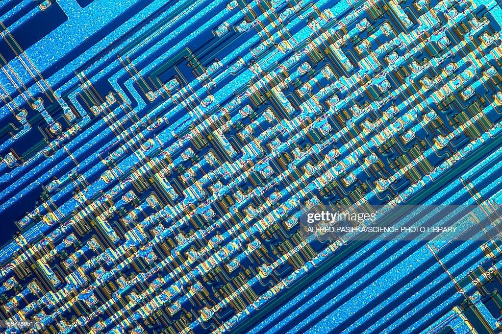 Microchip, light micrograph : Stock Photo