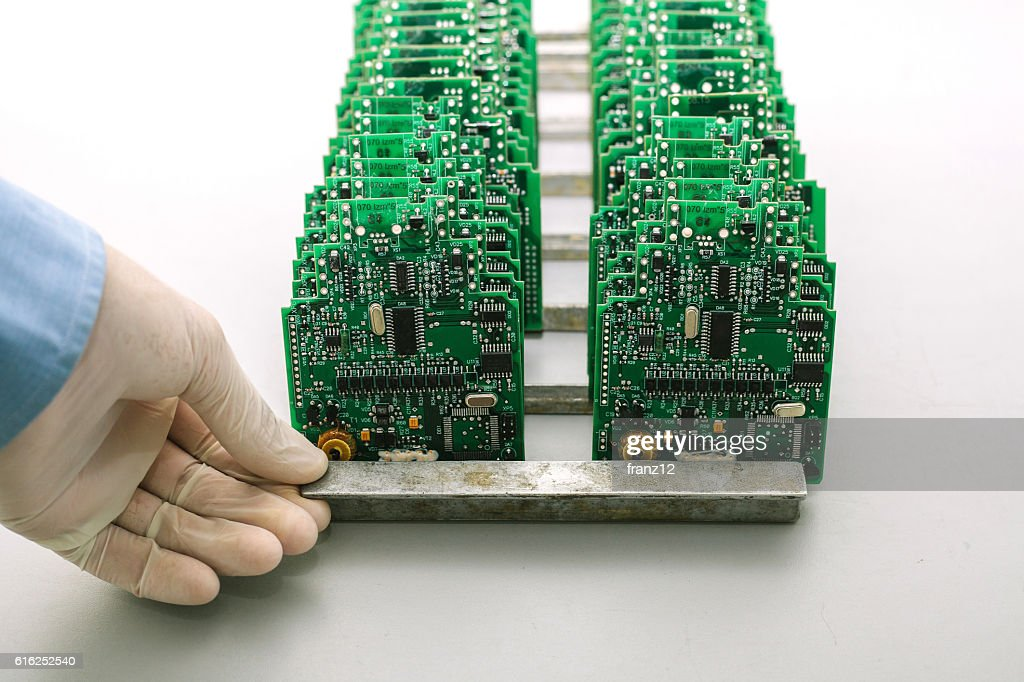 Microchip production factory.  Chip. Technician. Manufacturing. Engineering. : Stock Photo