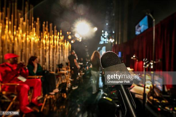 A microhone sits in the foreground onstage during rehearsals for the 88th Annual Academy Awards at Dolby Theatre on February 27 2016 in Hollywood...