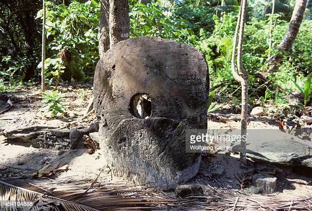 Micronesia Yap Isls Map Isl Traditional Stone Money Displayed Along A Village Path