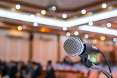 Microphone abstract prepare for speaker speech of conference or seminar hall at exhibition room background. Business Talk Presentation concept