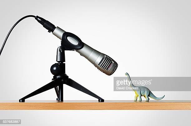Microphone and dinosaur figurine