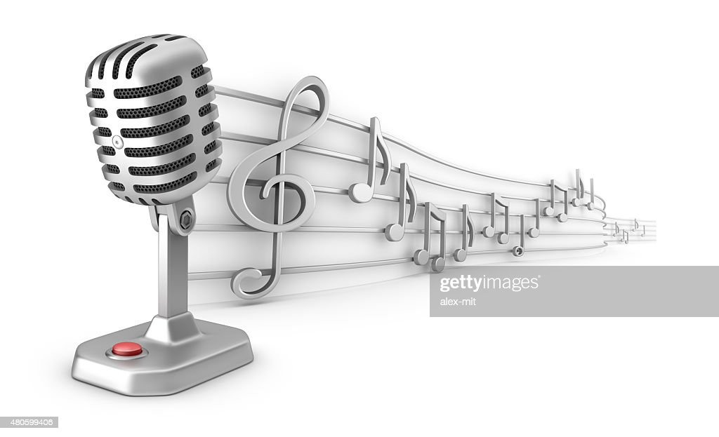 Microphone and musical notes staff set : Stock Photo