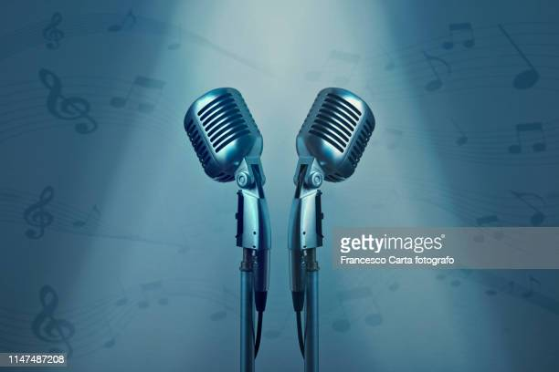 microphone and - doubles sports competition format stock pictures, royalty-free photos & images