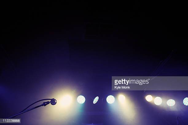 Microphone and spotlights on stage
