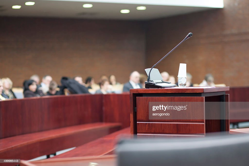 microphone at court house : Stock Photo