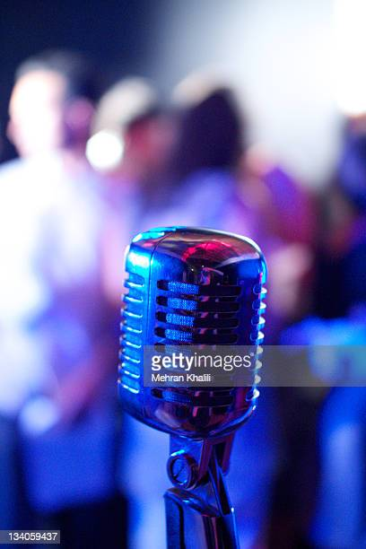 microphone at stage - microphone stand stock photos and pictures