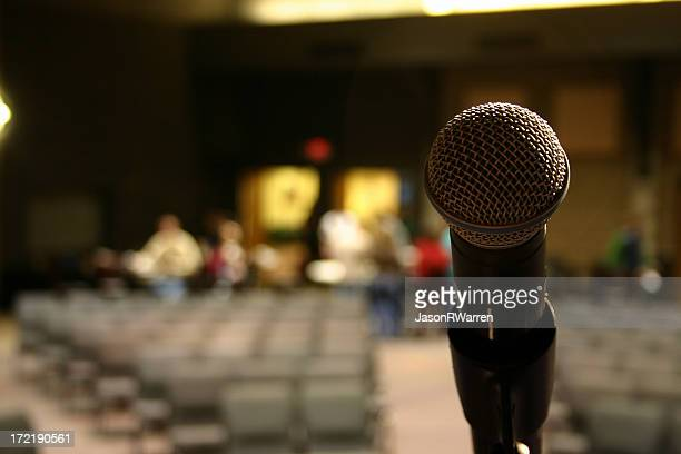 microphone, empty auditorium ii - arts culture and entertainment stock pictures, royalty-free photos & images