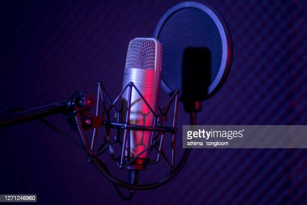 microphone in radio station broadcasting studio. - producer stock pictures, royalty-free photos & images