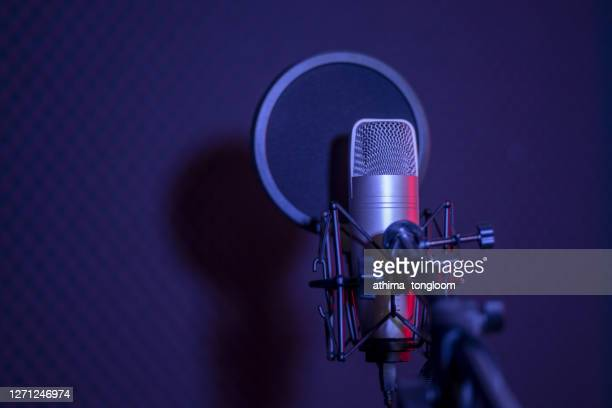 microphone in radio station broadcasting studio. - radio stock pictures, royalty-free photos & images