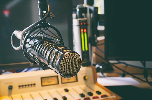 microphone in radio studio 614523672