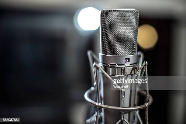 microphone in recording studio - microphone stock photos and pictures