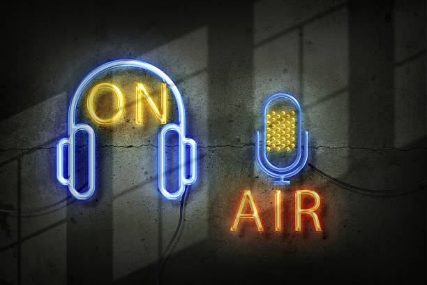 microphone in the old studio with on air sign in neon lights picture