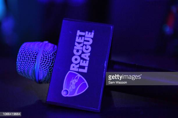 A microphone is seen before the grand finals match of the Rocket League Championship Series World Championship between team Dignitas and team Cloud9...