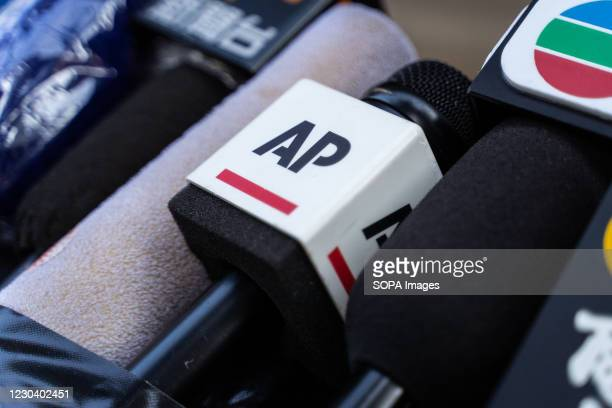 Microphone of Associated Press , an American non-profit news agency is placed outside the Court of Final Appeal as they wait for the verdict of Jimmy...