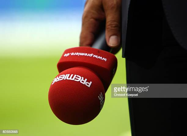 A microphone of Premiere television channel is seen beforre the Bundesliga match between VfL Bochum and VfL Wolfsburg at the rewirpower stadium on...