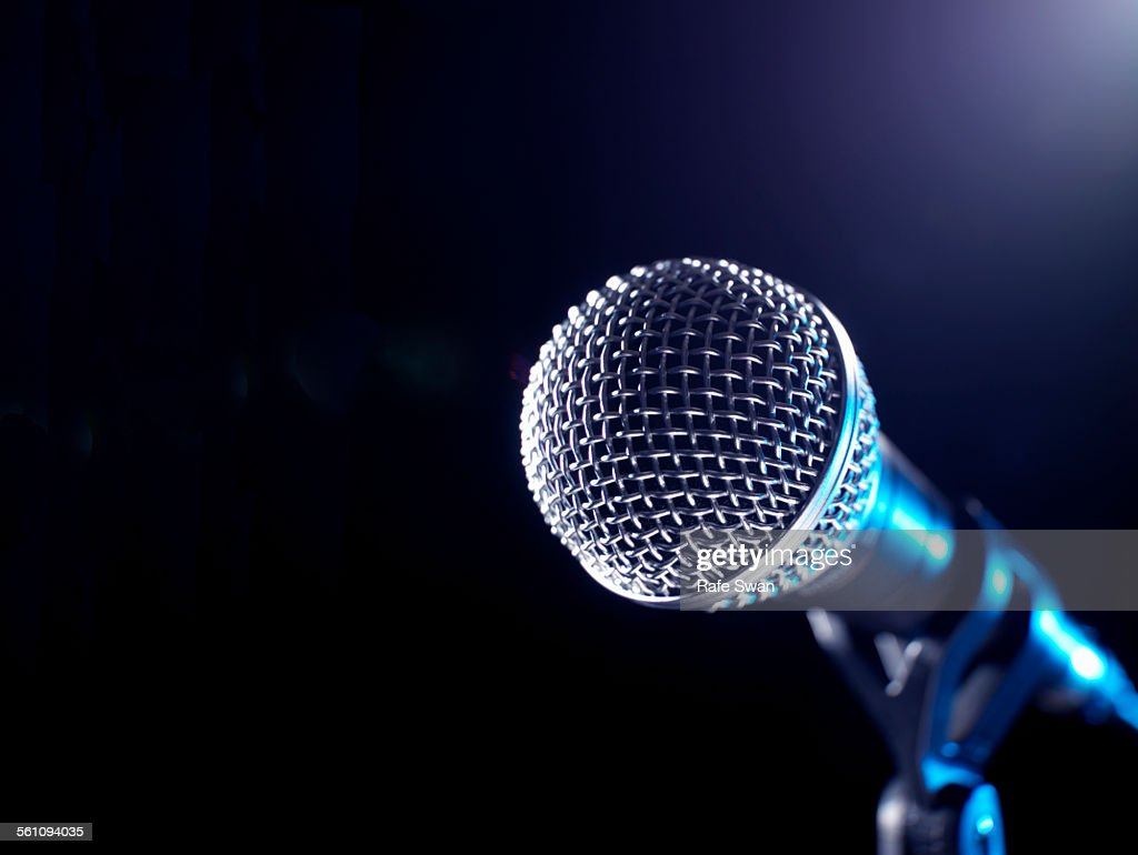 Microphone on a stand : Stock Photo