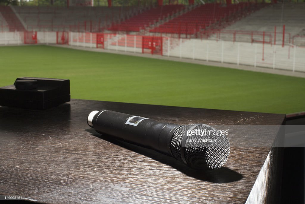 A microphone on a table : Stock Photo