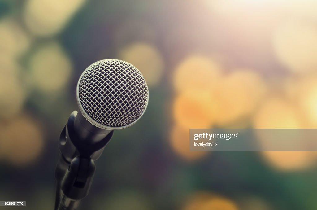 microphone on abstract blure light  bokeh background : Stock Photo