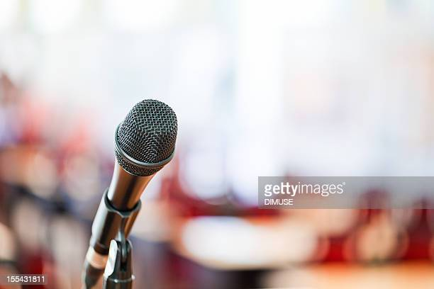 Microphone on blurred background
