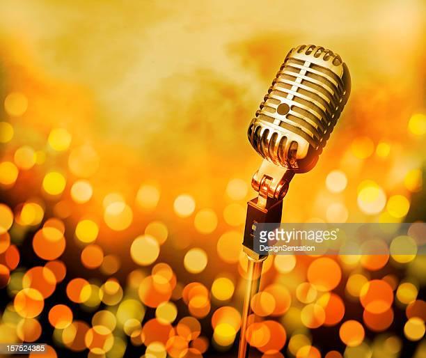 Microphone (Modern/Retro) on stage - defocused lights (XXL)