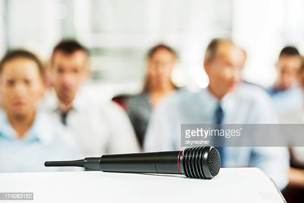 Microphone on the desk.